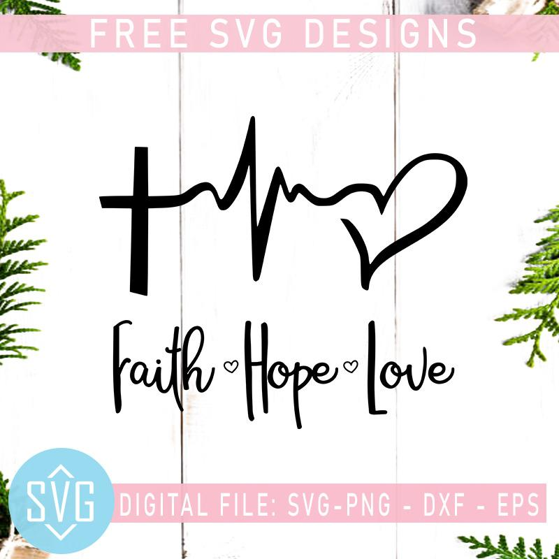 Download Faith Hope Love Free SVG, Cross Heartbeat Free SVG ...
